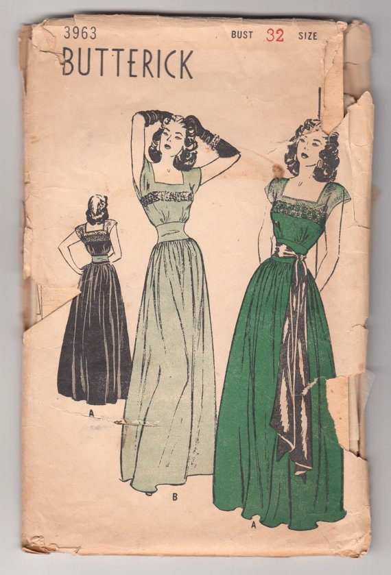Work Quotes : Vintage Sewing Pattern Rare Ladies 1940\'s Evening Gown ...