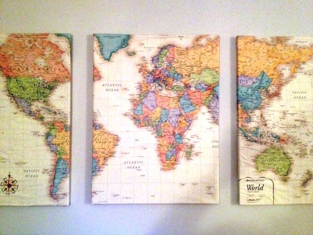 Work quotes lay a world map over 3 canvas cut into 3 pieces coat work quotes gumiabroncs Image collections