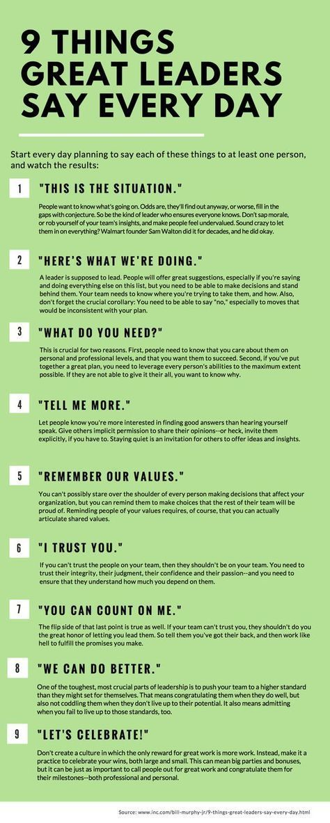 Success Work Quotes 9 Things Great Leaders Say Every Day People