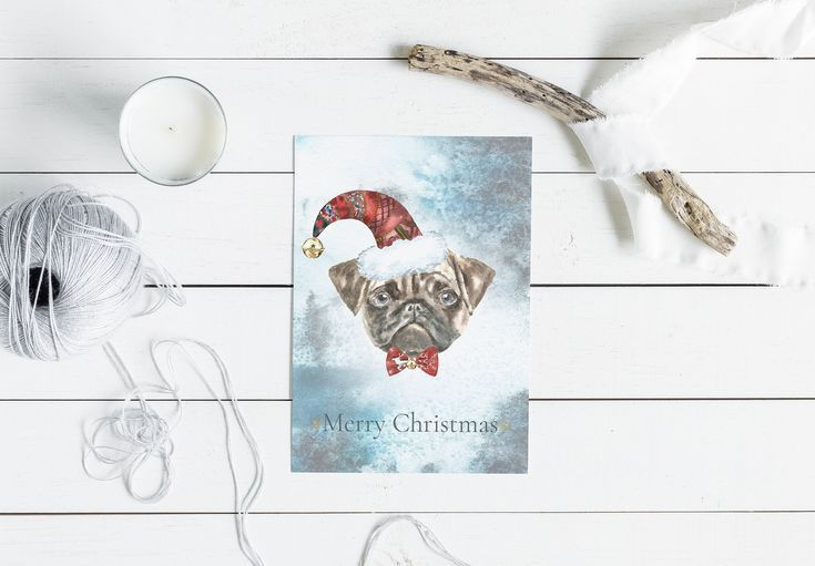 Christmas Watercolor Pug Cards by Catherine Wheel on Creative Market Detailed re...