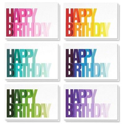 Birthday Card - 48-Pack Birthday Cards Bulk Box Set, Happy Birthday Cards, 6 Colorful Ombre Happy Birthday with Blank on The Inside, Envelopes, 4x6