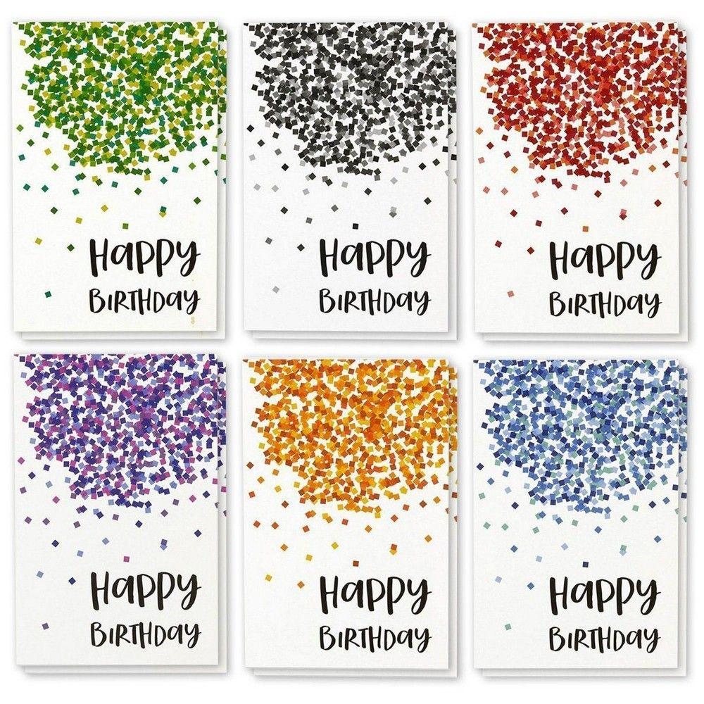 48 Greeting Happy Birthday Card Bulk Box Set Confetti Designs w/Envelopes, 4