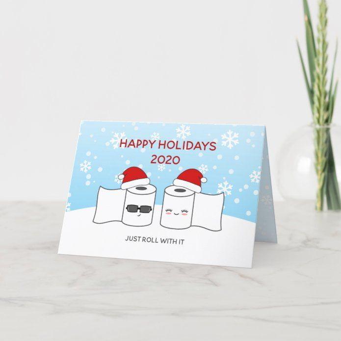 Funny Just Roll With It Toilet Paper Couple Holiday Card