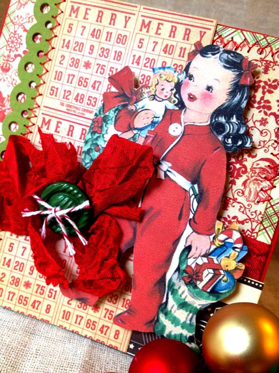 Items similar to Handmade Vintage Christmas Holiday Card on Etsy