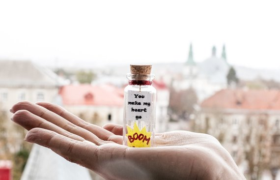 You make my heart go boom, Gift for girlfriend, Gift for boyfriend, Message in a bottle, Gift for her, Gift for him, Valentines gift