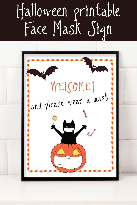 Halloween Printable Face Mask Sign   Halloween Wall Print
