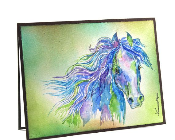 OOAK-Original Handpainted, Watercolor Card, Painting Horse, Art, Wild Horse, Greeting Card