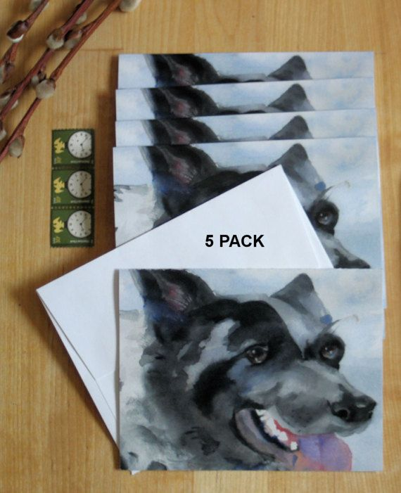 Watercolor Card Border Collie Mix Note Cards Blank Dog Invitations Pet Sitter Dog Walker Animal Lover Gift Thank You Birthday Greeting Art